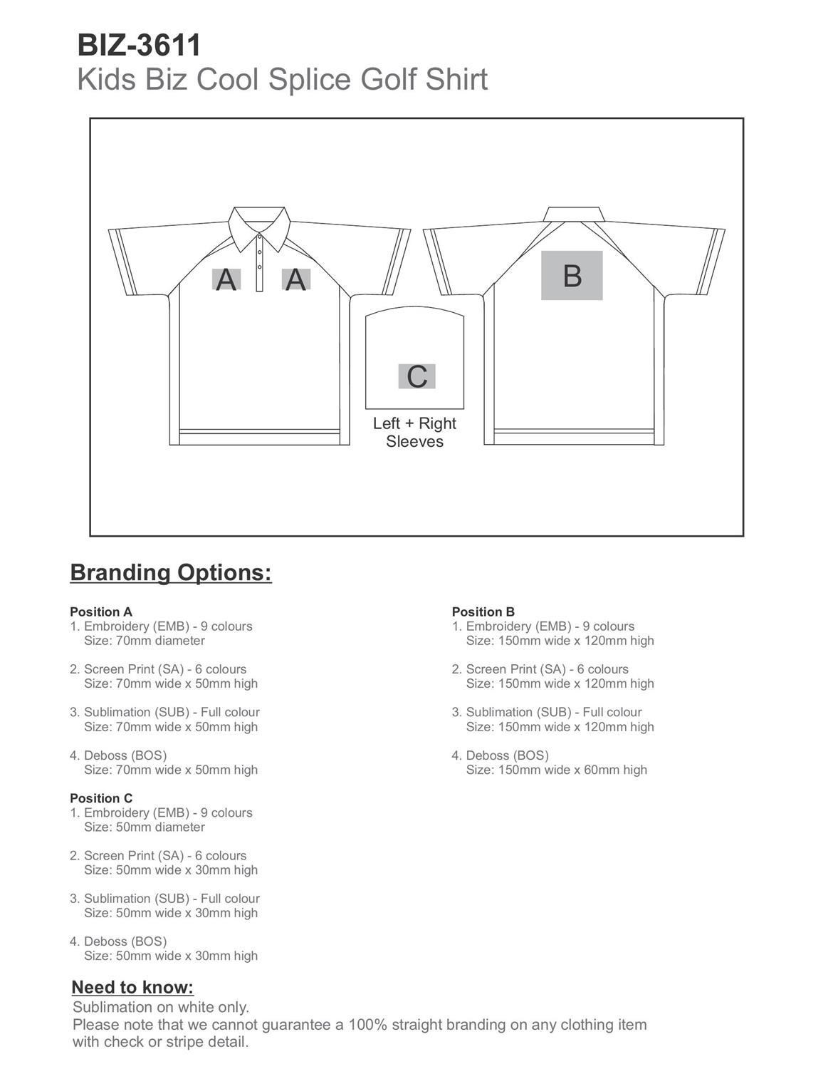 BIZ-3611 product layout