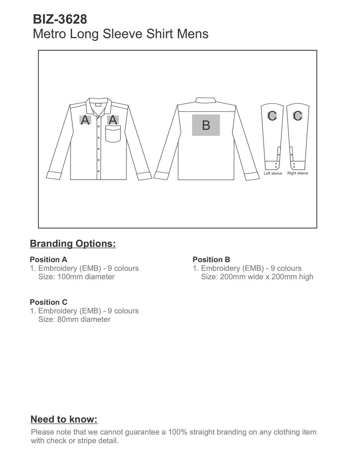 BIZ-3628 product layout