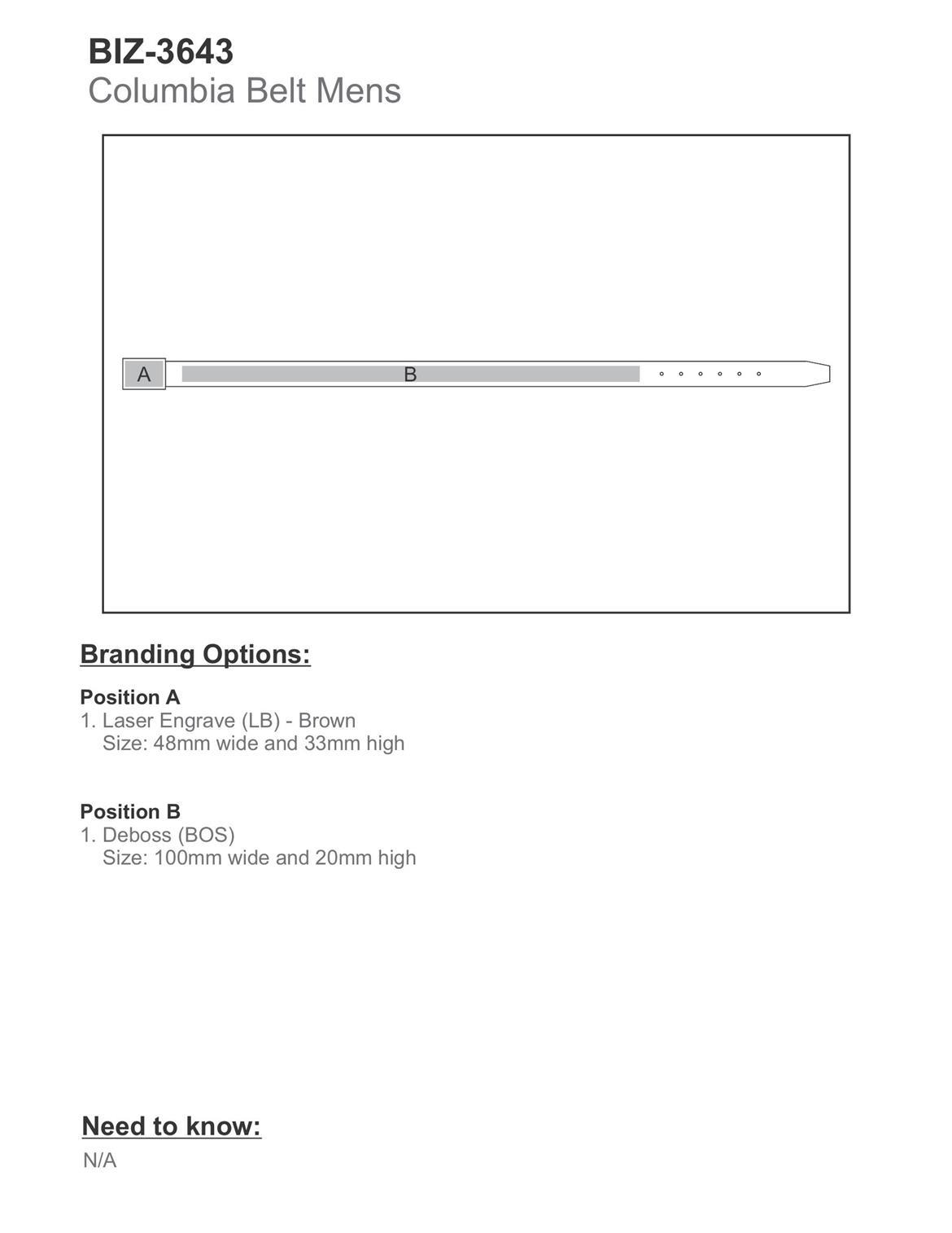 BIZ-3643 product layout